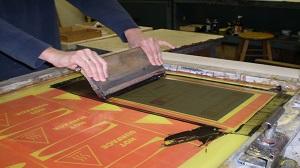 Pulling Ink on Silk Screen